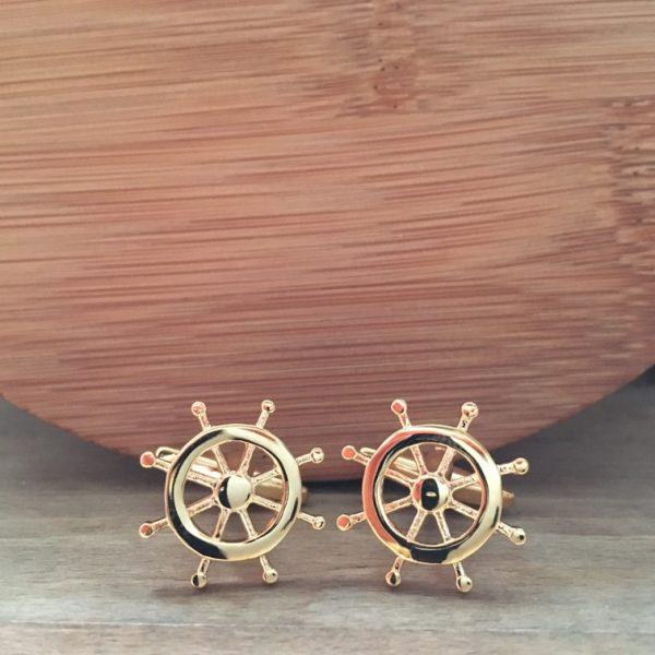 Manžetové gombíky M0062 Zlaté kormidlo 2