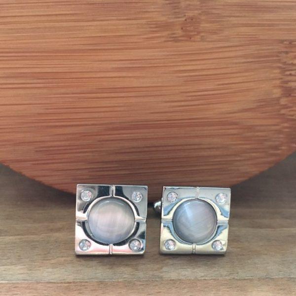 Manžetové gombíky M0073 Sivé retro 2