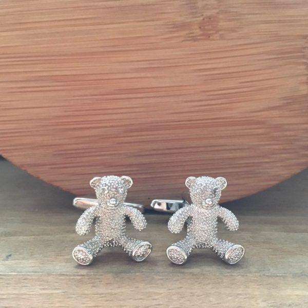 Manžetové gombíky M0177 Strieborný medvedík 2
