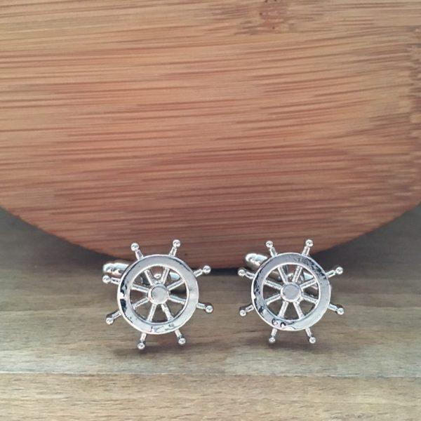 Manžetové gombíky M0198 Strieborné kormidlo 3