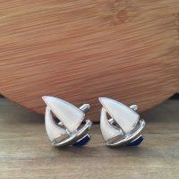 Manžetové gombíky M0402 Modro-biela plachetnica