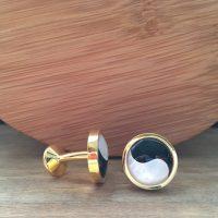Manžetové gombíky M0437 Zlatý Jin a Jang 5