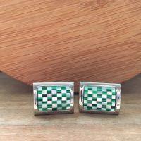 Manžetové gombíky M0483 Zelená šachovnica 2